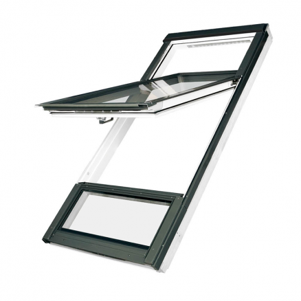 Billigt og innovativt ovenlys vindue fra FAKRO. Vippevinduet Duet proSky er to vinduer i et.
