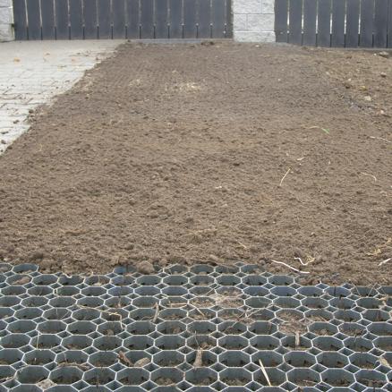 Græsarmering fyldt med jord