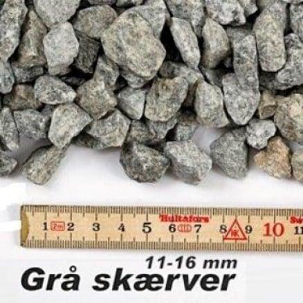 Granit skærver i grå 11-16 mm i big bag á ½ m³