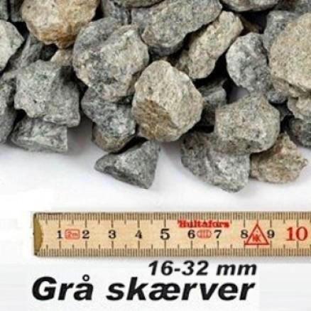 Granit skærver i grå 16-32 mm i big bag á ½ m³