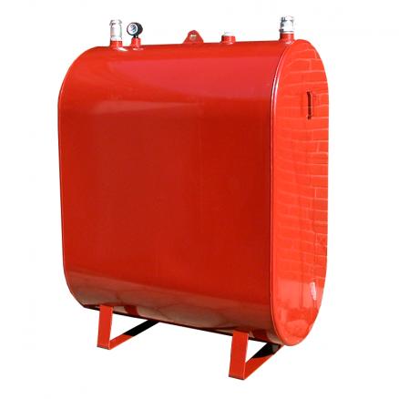 Olietank til 1200 liter fyringsolie i farven rød fra netbyggemarked.dk