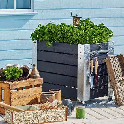 Brug fx Plus Cubic blomsterkasse 87 x 50 x 70 cm som rumdeler på terrassen