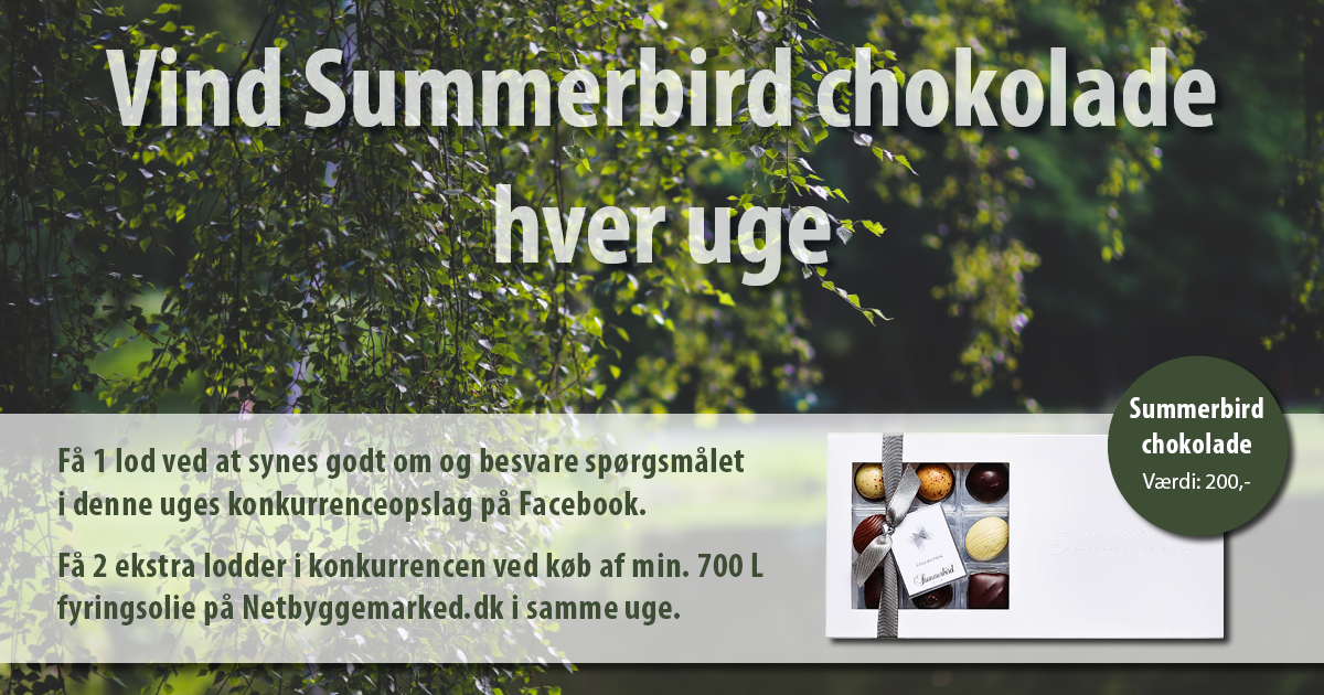 Vind lækker Summerbird Chokolade fra Netbyggemarked.dk